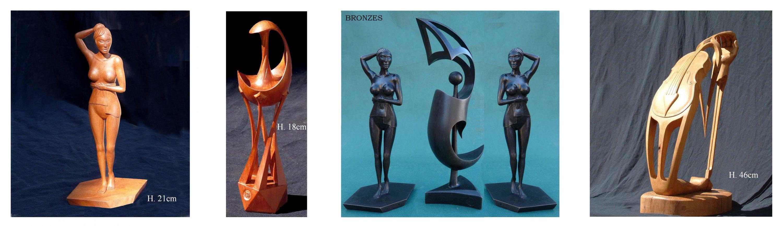 """alt=""""sculptures en bois massif et en bronze la belle vape"""""""
