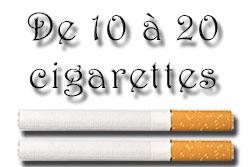 taux de nicotine pour de 10 à 20 cigarettes